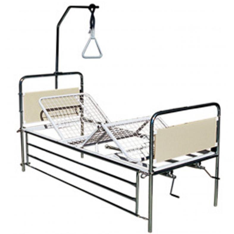 Betegágy, kórházi ágy emelhető fejtámlával és lábtámasszal